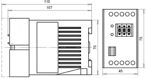 Рис.1. Габаритные и присоединительные размеры реле времени ВЛ-74М