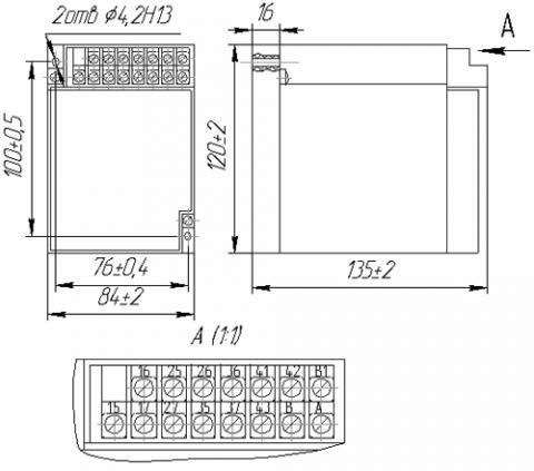 Рис.1. Габаритные и присоединительные размеры реле времени ВС-43-3