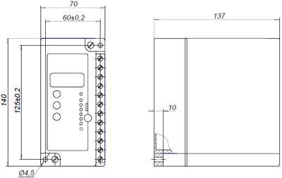 Рис.1. Габаритные и присоединительные размеры реле защиты двигателя РДЦ-01-055