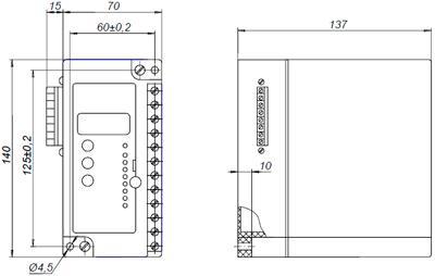 Рис.1. Габаритные и присоединительные размеры реле защиты двигателя РДЦ-01-057-1