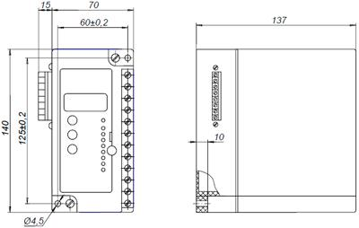 Рис.1. Габаритные и присоединительные размеры реле защиты двигателя РДЦ-01-057-5