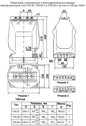 Рис.1. Габаритные и присоединительные размеры трансформатор тока ТЛК-35