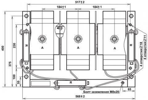 Рис.1. Габаритные и присоединительные размеры трансформатора напряжения 3xЗНИОЛ