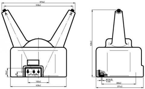 Рис.1. Габаритные и присоединительные размеры трансформатора напряжения НЛЛ-35-6