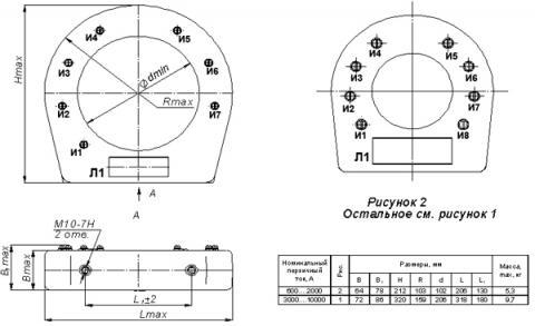 Рис.1. Габаритные и присоединительные размеры трансформатора тока ТЛЛ-0,66