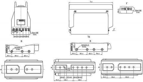 Рис.1. Габаритные и присоединительные размеры трансформатора тока ТОЛ-10 III УХЛ1