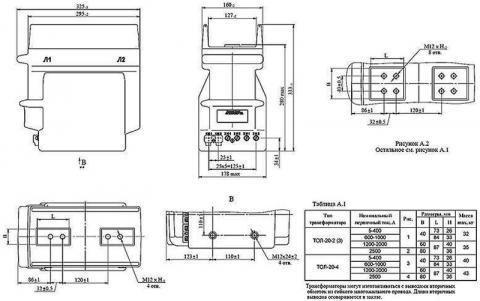 Рис.1. Габаритные и присоединительные размеры трансформатора тока ТОЛ-20