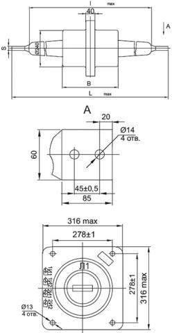 Рис.1. Габаритные и присоединительные размеры трансформатора тока ТПЛ-35