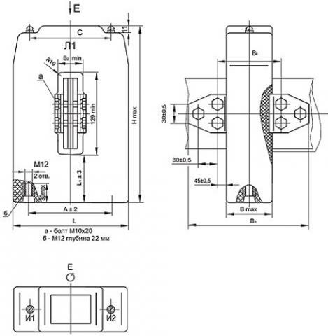 Рис.1. Габаритные и присоединительные размеры трансформатора тока ТШЛ-0,66-I