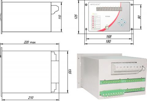 Рис.1. Габаритные и присоединительные размеры устройств релейной защиты РЗЛ-04