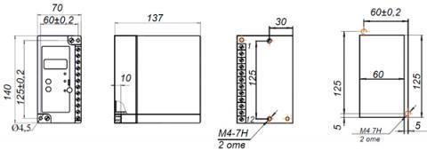 Рис.1. Габаритные и присоединительные размеры устройства контроля напряжения УКН-01