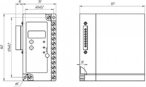 Рис.1. Габаритные и присоединительные размеры устройства контроля напряжения УКН-01М2