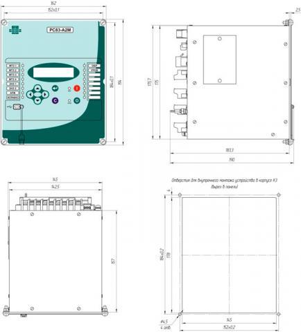 Рис.1. Габаритные и присоединительные размеры устройства защиты по току РС83-А2М