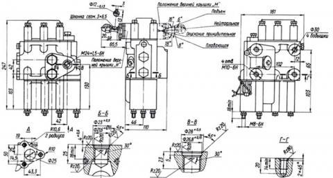 Рис.1. Габаритные и присоединительный размеры гидрораспределителя двухзолотникового  Р80-3-1-44