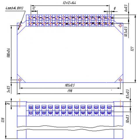 Рис.1. Габаритные и установочные размеры реле ВС44-1, ВС44-2