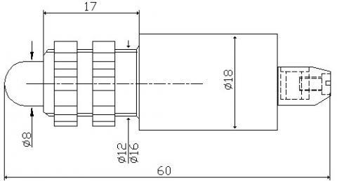 Рис.1. Габаритные размеры арматуры светодиодной АСКМ-С-12-ПМ