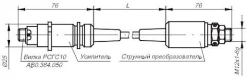Рис.1. Габаритные размеры датчик давления ВТ-1202