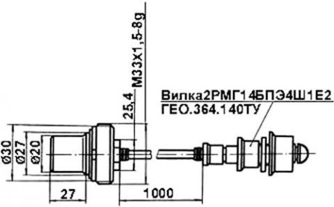 Рис.1. Габаритные размеры датчика числа оборотов ИС-513