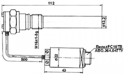 Рис.1. Габаритные размеры  датчика измерения температуры ТГЭ-007