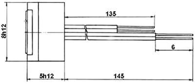 Рис.1. Габаритные размеры  датчика измерения температуры ТМ 222