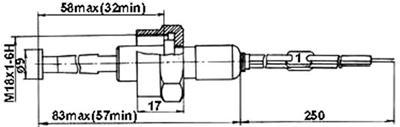 Рис.1. Габаритные размеры датчика измерения температуры ТП 073