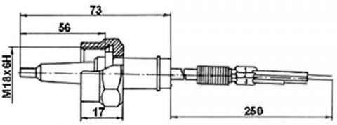Рис.1. Габаритные размеры  датчика измерения температуры ТП 085