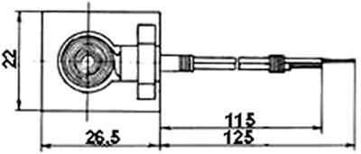 Рис.1. Габаритные размеры датчика измерения температуры ТП 251
