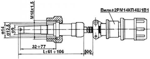 Рис.1. Габаритные размеры датчика измерения температуры ТТ-135