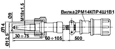 Рис.1. Габаритные размеры  датчика измерения температуры ТТ-142
