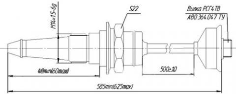 Рис.1. Габаритные размеры датчика измерения температуры ТТ-253