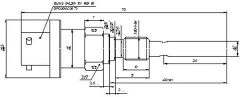 Рис.1. Габаритные размеры датчика измерения температуры ВТ-125