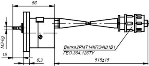 Рис.1. Габаритные размеры датчика линейных перемещений ВТ-712