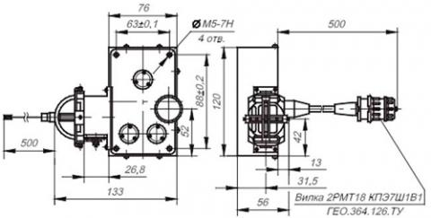 Рис.1. Габаритные размеры датчика линейных перемещений ВТ 714