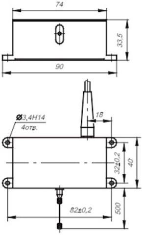 Рис.1. Габаритные размеры  датчика линейных перемещений ВТ 718