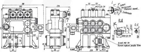Рис.1. Габаритные размеры гидрораспределителя Р160-3-1-222
