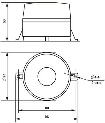 Рис.1. Габаритные размеры оповещателя светового М-06