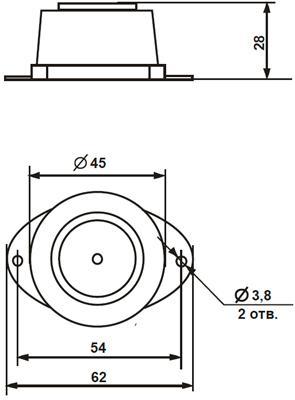 """Рис.1. Габаритные размеры оповещателя светозвукового """"Дуэт"""" С-02С"""