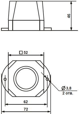 Рис.1. Габаритные размеры оповещателя светозвукового Дуэт С-03С