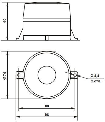 Рис.1. Габаритные размеры оповещателя светозвукового Дуэт С-06С