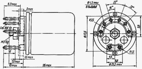 Рис.1. Габаритные размеры реле РЭС-9