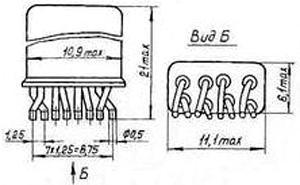 Рис.1. Габаритные размеры реле РЭК 37
