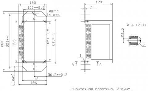 Рис.1. Габаритные размеры реле РС80М2-19-21 с встроенной функцией АПВ