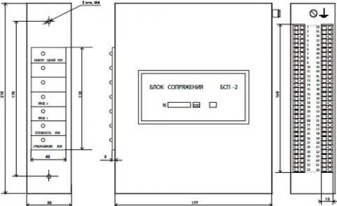 Рис.1. Габаритный чертеж блока сопряжения БСП-2