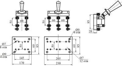Рис.1. Габаритный чертеж рубильника РО-34 переднего присоединения на токи 400А