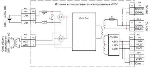 Рис.1. Схема подключения источника вспомогательного электропитания ИВЭ-1