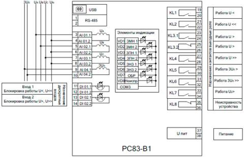 Рис.1. Схема подключения устройства РС83-В1