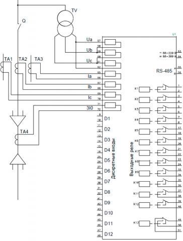Рис.1. Схема подключения внешних цепей c тремя ТТ к устройству