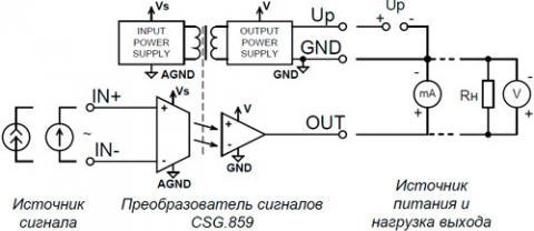 Рис.1. Структурная схема и схема подключения преобразователя CSG.859
