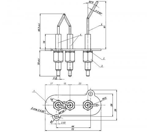 Рис.1. Чертеж блока электродов розжига и контроля пламени 1443-620