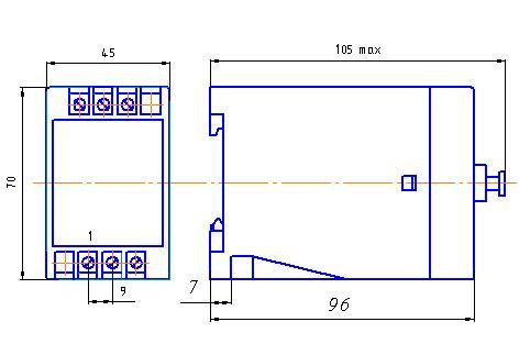 Рис.1. Габаритные и присоединительные размеры прерывателя импульсного ЕЛ-20